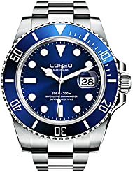 LOREO Mens GMT Silver Stainless Steel Sapphire Glass Blue Rotating bezel Mens Automatic Watch