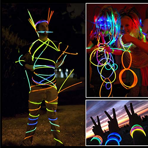 200 PCS Glow Stick Bracelets Glow in the Dark Sticks with Connectors Perfect for Birthday Parties, Party Favors, Camping Trips, July 4th, Christmas