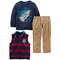 Simple Joys by Carter's Toddler Boys' 3-Piece Fleece Vest, Long-Sleeve Shirt, and Woven Pant Playwear Set