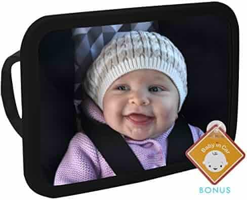 Alphabetz Large Baby Backseat Car Mirror Crash Tested-Shatterproof with Free Baby-On-Board Sign Pivoting Base, Black