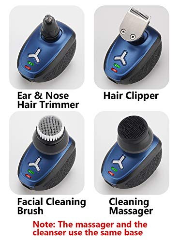 Men's 5-in-1 Electric Shaver & Grooming Kit with Clippers Nose Hair Trimmer Facial Cleansing Brush IPX6-Waterproof,Wet/Dry 5 Head 4d Cordless USB Rechargeable Rotary Shaver (Blue)