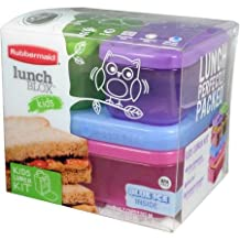 Rubbermaid Lunch Blox Kit, Tall Microwave, Dishwasher and Freezer Safe 1 Sandwich Container (2.6c Capacity), 2 Side Containers (1.2c Capacity) and 1 Medium Blue Ice Tray by Q&A
