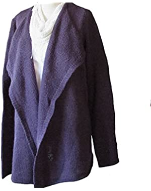 Calvin Klein Open Front Cardigan Purple Sweater Large - Magnetic 503