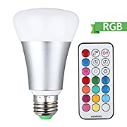 Amazon Lightning Deal 100% claimed: LED Bulb with IR Remote Control,10W E27 Base Night Light,DBTECH Dimmable RGB Living Color Changing Atmosphere/Mood Lamp,Pure Cool White Light,RGB+White [Energy Class A ++]
