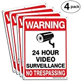 """Faittoo 4-Pack Video Surveillance Sign, No Trespassing Metal Reflective Warning Sign, 10""""x 7"""" 0.40 Aluminum Indoor Or Outdoor Use for Home Business CCTV Security Camera,UV Protected & Waterproof"""