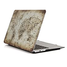 """Macbook Air 11.6"""" Case,YMIX Colorful Print Hard PC Shell Rubberized Bottom Case Ultra Slim Protective Case Cover for MacBook Air 11 Inch (Models: A1370 and A1465) (01 Vintage Map)"""