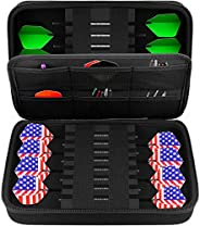 GWCASE Dart Case Slim EVA Shell for Steel and Soft Tip Darts, Hold 16 Darts and Features Built-in Storage for