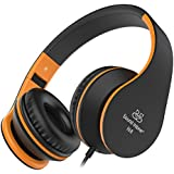 Headset, Sound Intone Foldable Headphones with Mic and Volume Control, On-ear Wired Kids Headphones for Girls Boys Students (Black Orange)
