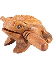 Thai Wood Frog Traditional Crafts Lucky Frog Guiro Grater Instrument for Home Office Decoration Musical Toy (8.8CM)