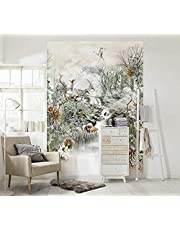 Komar - fotobehang FABLE - 184 x 254 cm behang, muur decoratie, Japan, tuin, bloemen, vogel, bos, rivier, kunst - 4-203