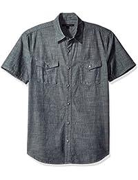 John Varvatos Men's Chambray Short Sleeve Slim Fit Shirt