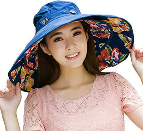92e9340155e iHomey Packable Extra Large Brim Floppy Sun Hat Reversible UPF 50+ Beach  Sun Bucket Hat