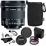 Canon EF-S 10-18mm f/4.5-5.6 IS STM Lens + Polaroid Optics 67mm 3 Piece Filter + Ritz Gear Medium Neoprene Protective Pouch + 5 Piece Camera Cleaning Kit + Polaroid Cap & Strap