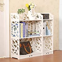 D-line Wood and Plastic Bookcase Bookshelf Storage Shelf, White, Set of 2