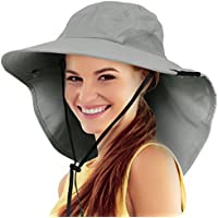 Tirrinia Safari Sun Hats For Women Fishing Hiking Cap With Neck Flap Wide Brim Hat