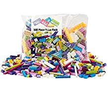 Building Bricks - 500 Pc Big Bag of Bricks Bulk Friends-Colored Blocks with 30 Roof Pieces - Tight Fit and Compatible with Lego