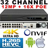USG IP Network 12MP 32 Channel Security NVR with 16x PoE Ports Built-In 40963072 Resolution 2x SATA, H.265, ONVIF 2.4, RTSP, HDMI, VGA, USB, Audio, Alarm, Gigabit RJ45, DK8, Face Detection, Cloud
