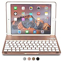 iPad Air 2 / Pro 9.7 Keyboard case, COOPER NOTEKEE F8S Bluetooth QWERTY Wireless Keyboard Hard Clamshell Carrying Case Cover with 7 Backlit Colors for Apple iPad Air 2 / Pro 9.7 (Pink)