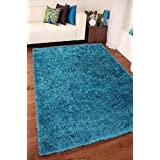 TEAL BLUE LUXURIOUS THICK SHAGGY RUGS 7 SIZES AVAILABLE 120cm x 170cm (4ft x 5ft 7) by AHOC