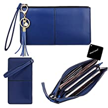 PU Leather Zipper Purse, xhorizon TM SR Wristlet Clutch Cellphone Wallet with Exquisite Tassels and Wrist Strap for iPhone 6/6s plus/7/7plus, Samsung S5/S6/S7 edge, LG, HUAWEI and other Smartphone