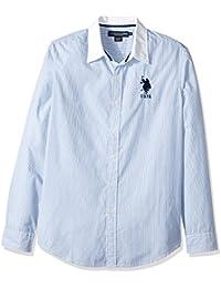 Men's Classic Fit Stripe, Plaid Print Long Sleeve Sport...