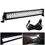 24inch Spot Flood Combo Offroad Led Light Bar White 6000K with Wiring Harness for Boat Jeep 4WD SUV Truck ATV UTE, 120W