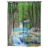 180x180cm 3D Waterproof Nature Scenery Waterfalls Bathroom Shower Curtain With 12 Hooks