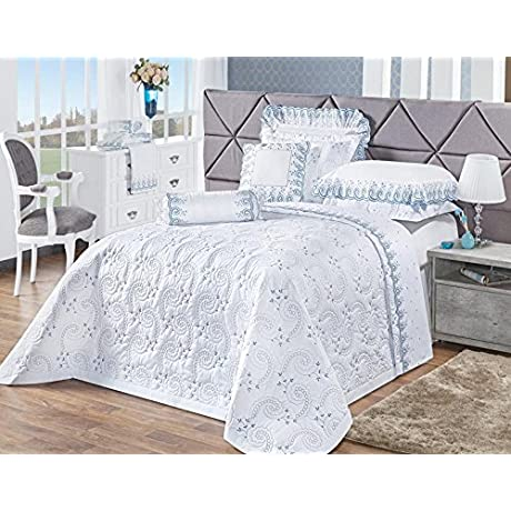 Deluxe Edition Embroidered Threadcount 200 Bed Set 12pc Queen Size King Size White Blue Bedding Set Sheet Pillowcases Bedskirt Cushion Round Cushion