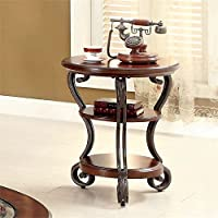 Furniture of America Azea Scrolled Leg End Table in Brown Cherry