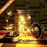Mason Jar Lights, 10 LED Christmas Solar Fairy Firefly Lights Lids Insert Hanging Bottle String Lights Excluding Jars for Xmas Tree Party Wedding Deck Garden Patio Path Home Decor Warm White-Pack of 4