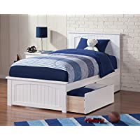 Nantucket Bed with Matching Foot Board and Urban Bed Drawer, Twin XL, White