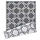 DII Moroccan Indoor/Outdoor Lightweight Reversible Fade Resistant Area Rug, Great For Patio, Deck, Backyard, Picnic, Camping, BBQ, & Everyday Use - 4 x 6-Feet, Gray Lattice