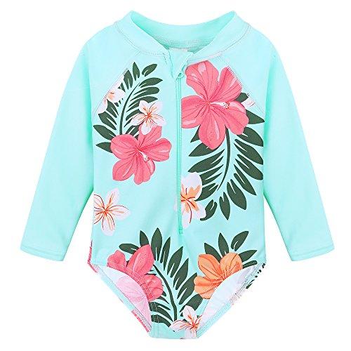 TFJH E Little Girls Rash Guard Swimsuit UV 50+ Long Sleeve One Piece Bathing Suit Cyan Flower 140/146