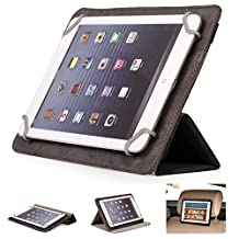 Mulbess - Universal 7 / 8 inch (22 cm x 13.5 cm) Tablet CleverStrap Filp Leather Case Cover with Stand (for Apple iPad mini 2 Retina,Samsung Galaxy Tab/Pro/S 3/4 7.0 8.0 8.4 ,Acer Iconia B1/A1/W4,LG G Pad 8.3,Lenovo ideaTab/Yoga,Asus MeMo Pad HD,Google Nexus,Medion LifePad S7852/S7851/E7315/E7318,Odys Connect 7 Pro/Connect 8+/Titan/Study Tab/Pedi Plus/Aria/Pro Q8/Sky Plus 3G,Intenso Tab 824/814S,Trekstor SurfTab Breeze/Ventos,) (CleverStrap Black)