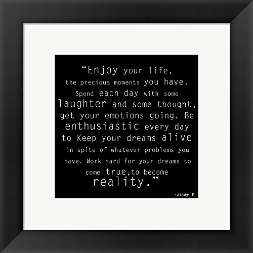 Enjoy Life, Jimmy V Quote Framed Art Print Wall Picture, Black Frame, 14 x 14 inches