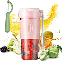 Mini Personal Portable Juicer portable blender for shakes and smoothies, Smoothie Juicer Cup With USB Rechargeble Fruit Juicer Mixer for Travel,Office (Pink)