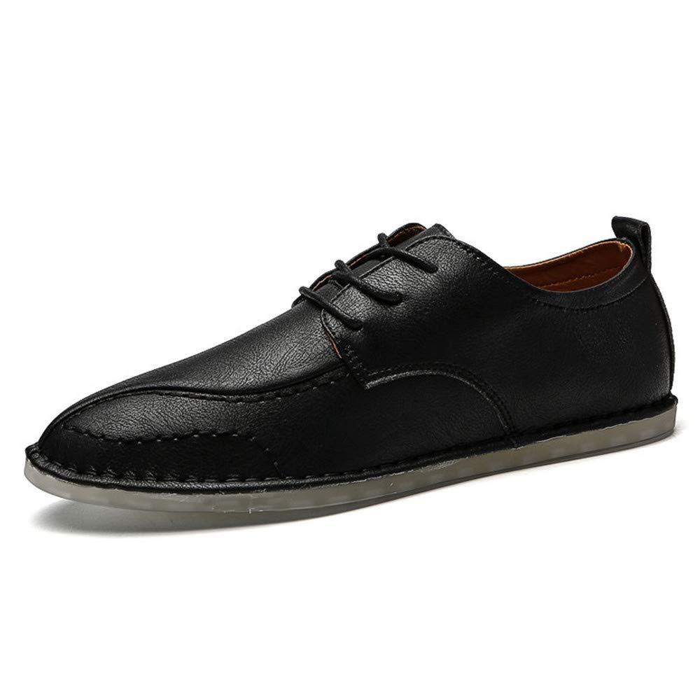 XHD-Schuhe Einfache Oxfords der Männer schnüren Sich Oben beiläufige Feste Farbe Schuhe (Farbe   Schwarz, Größe   46 EU)
