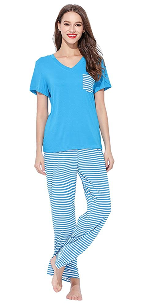 bluee Jepwe Womens Short Sleeve Pajamas Striped Pocket Top and Pants PJS Sleepwears