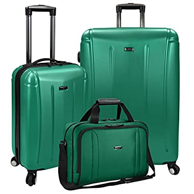 Travelers Choice U.S Traveler Hytop 3-Piece Spinner Luggage Set, Green, One Size