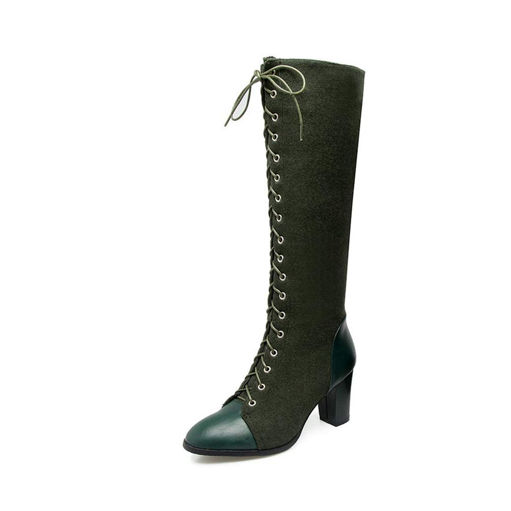 Green T-JULY Women Square High Heel Western Boots Ladies Mixed color Knee-high Boots Female Lace Up Brown Motorcycle Boots