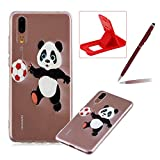Soft TPU Case for Huawei P20,Shock-Absorbing Rubber Case for Huawei P20,Herzzer Stylish Slim Fit Football Panda Pattern Shockproof Scratch Resist Flexible Silicone Back Cover