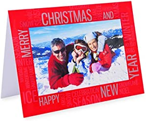 "Pack of 6 Shot2go photo christmas greeting cards with envelopes. Red text design. Each card holds one 4x6"" (10x15cm) photo"