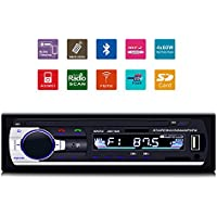 GiKPal Car Radio with Bluetooth Update In-Dash Single Din Car Stereo Receiver Car MP3 MP5 Player/ USB Charing/SD/AUX/AM/FM/ with Car Radio Connector & Remove Control, 12 V Support, Black
