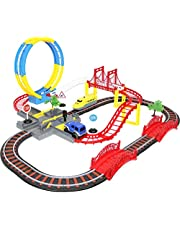 Car and Train Set with DIY Construction Race Track Toys for 3 Year Old Boys and up