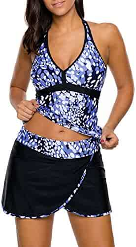 aaffa1114ff EVALESS Women s Floral Print Two Piece Tankini Top and Skirted Bottom  Swimsuit(S-XXXL