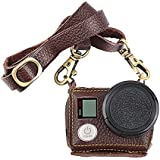 T.Face Leather Protective Case For Gopro Hero 4 3+ Black Silver Action Cam With Lens Cover and Sling Mount For Go Pro Accessory (Brown)