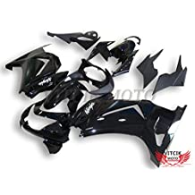 VITCIK (Fairing Kits Fit for Kawasaki EX250R Ninja 250 EX-250R ZX250 2008 2009 2010 2011 2012) Plastic ABS Injection Mold Complete Motorcycle Body Aftermarket Bodywork Frame (Black) A037