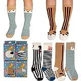 FlyingP Unisex Assorted Animal Cartoon Knee High Socks Stockings Baby Girls Boys Anti Skid Socks Tube Long Socks For 1-4 Years Baby Toddler 4 Pairs Set