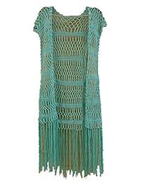Tinacrochetstudio? Long Fringe Crochet Vest Bikini Cover up Hippie Summer Beachwear
