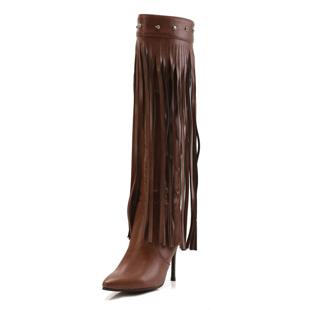 Brown Fringed High Boots, High Heel Pointed Back Zipper Knee Boots Waterproof Platform Non-Slip Elastic Knight Boots PU Women's Long Tube shoes